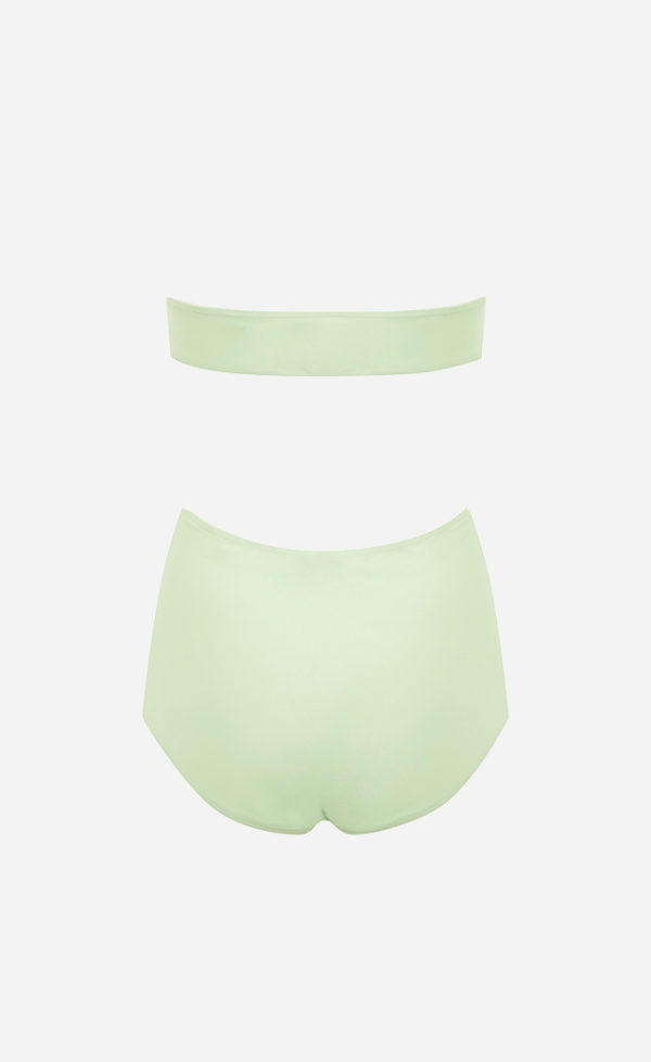 The tender green one-piece Tube swimsuit from the back.