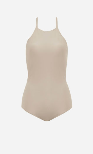 The beige Halter one-piece swimsuit from front.