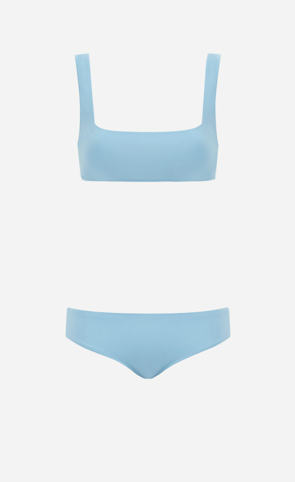 The Sky blue Square bikini from front.