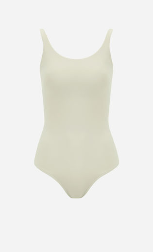Light green Tank swimsuit from front.