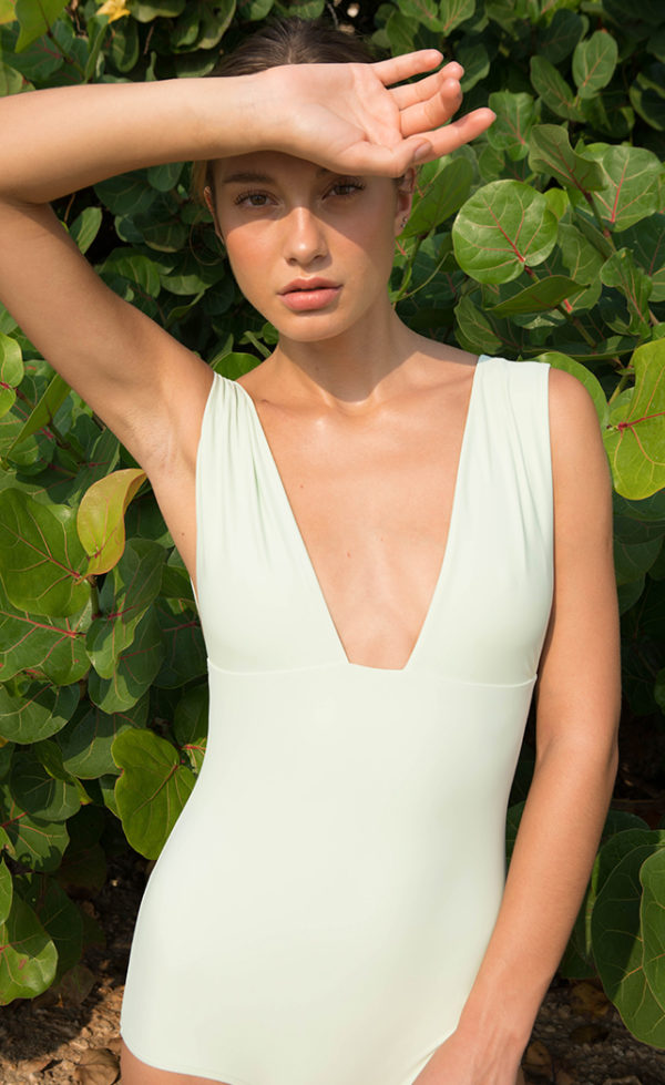 One-piece swimsuit plunge green 1