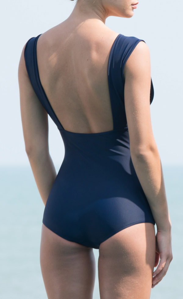 One-piece swimsuit plunge midnight blue 2