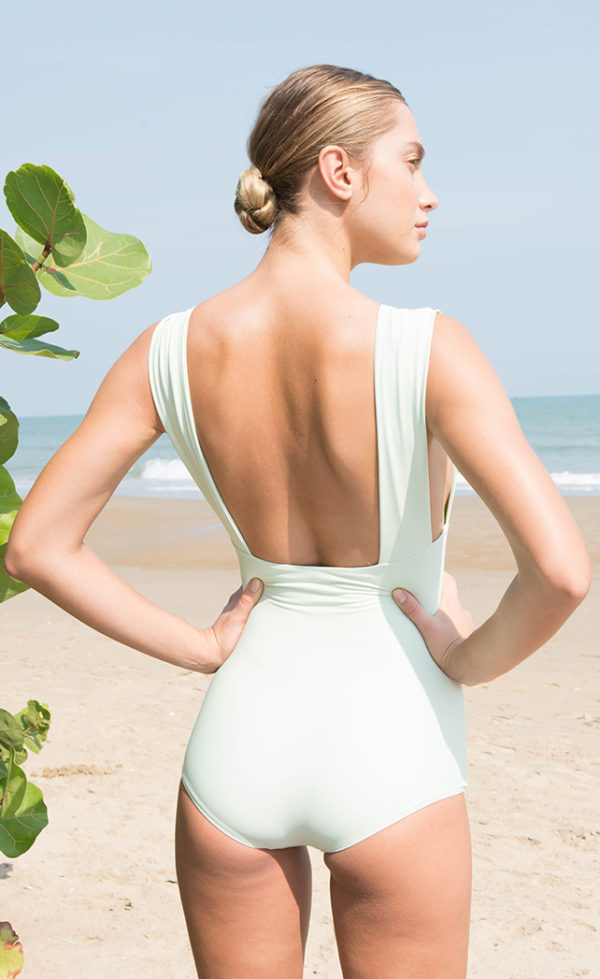 One-piece swimsuit plunge green 2