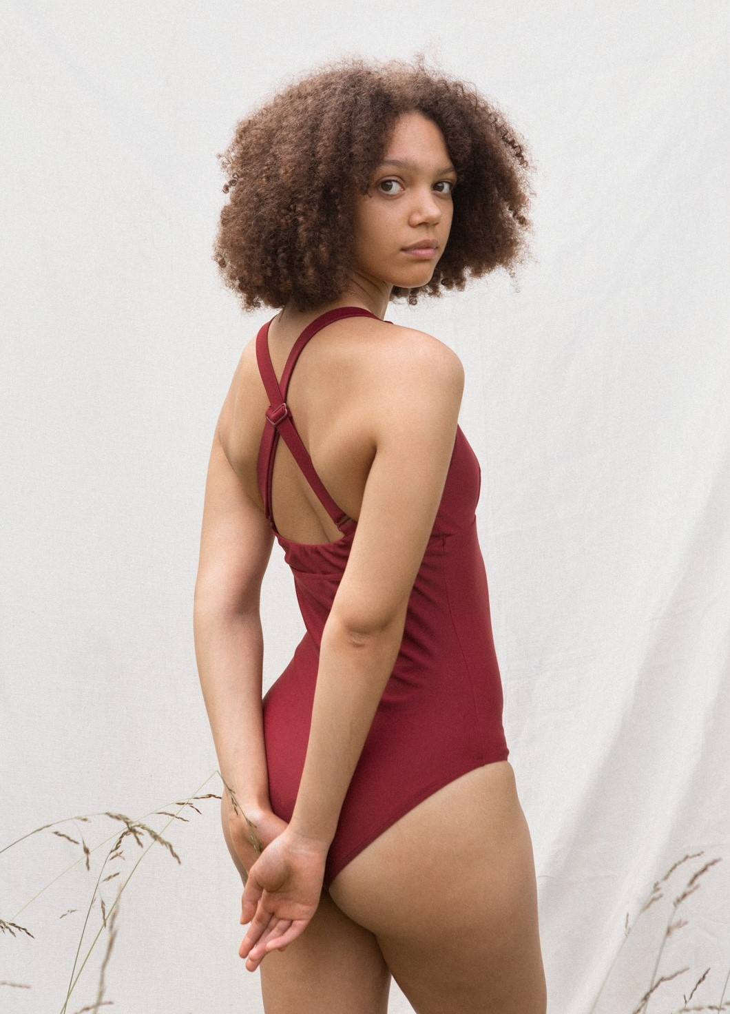 The terra rouge one wave swimsuit worn.
