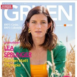 Lea Sprunger wearing the Square bikini top for SI Gruen magazine.