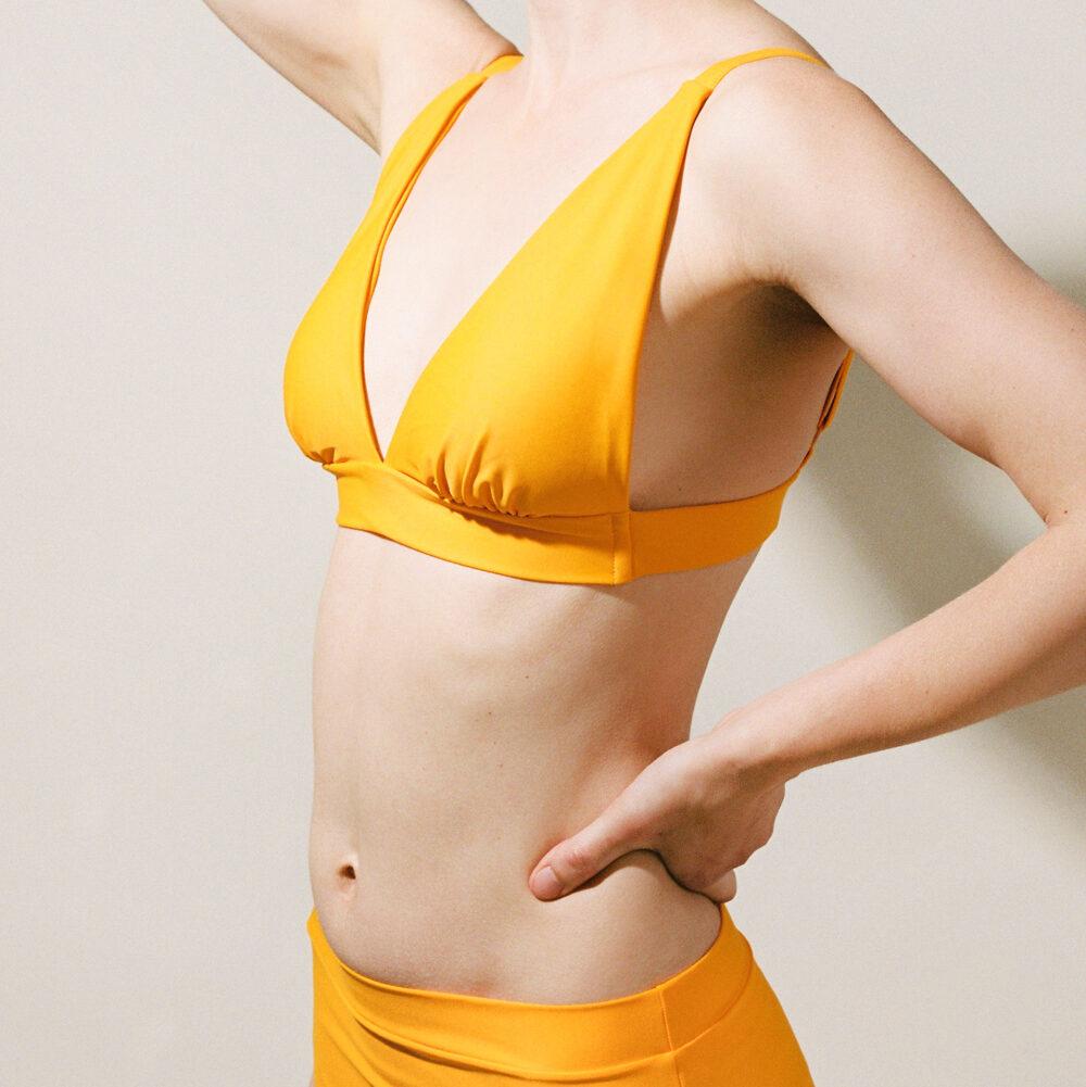 Triangle bikini in amber worn square